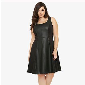 Torrid Faux Leather Trim Swing Dress size 24